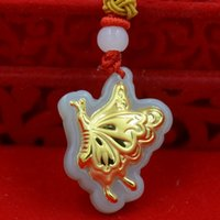 Wholesale high grade pendant Hetian white jade K gold pendant Charms D shape thick gold butterfly size cm cm cm couple lover
