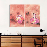 big red pot - 2Pcs Big Size Red Chinese Style Decoration Vases Wall Art Picture Wine Pot Canvas Painting For Living Room Home Decor Unframed