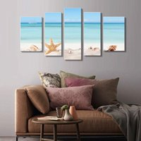 Wholesale 5 Picture Combination Spirit Up Art Huge Home Decorations Starfish on Beach Canvas Print Modern Wall Painting Art unframed