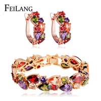 Wholesale FEILANG Fashion Wedding Jewelry Set Rose Gold Plated My Mona Lisa Multicolor Cubic Zircon Bracelet Earring Jewelry Set FSMP001