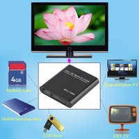 Wholesale set Mini P Hard Disk Media Player RM RMVB Real8 D video With Remove Control AV Cable AC Power Adapter