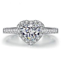 Wholesale FACTORY CHEAP JEWELRY SILVER GEMSTONE HEART WEDDING RING WOMEN S JEWELRY FOR