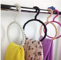 Wholesale ABS Pearl Scarf Tie Hangers Colorful Round Circle Scarves Rack