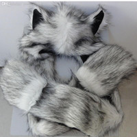 Cheap Wholesale-2015 Winter new Faux Fur Hood Animal Hat Ear Flaps Hand Pockets Animal Hat Wolf Furry Plush Warm Cartoon Cap with Scarf Gloves