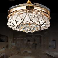 Wholesale Fan Stealth crystal lamp living room ceiling fan light golden fan with LED s restaurant invisible fan