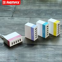 Cheap Wholesale-Remax 5-Ports Wall USB Phone Charger 5V 2.4A 2.1A 1A Total Output with Original Europe 4 Colors