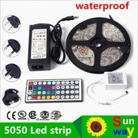 ac coils - 5050 RGB LEDS LED Strip Light Waterproof RGB LED M roll DC V Flexible led with remote controller A adapter coil m roll