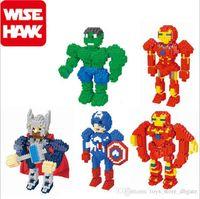 Wholesale avengers alliance Super Heroes cartoon Iron Man Hulk Batman Wolverine Thor Building Blocks Sets Minifigure DIY Bricks Toys