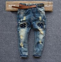 autumn japan - 2016 New Arrival Spring Autumn Kids Ripped Hole Jeans for Boys Fashion Trench Rivet Children Trousers Brand Boys Pencil Jeans