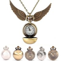 Wholesale Free Drop Shipping Elegant Harry Potter Golden Snitch Quartz Fob Pocket Watch With Sweater Necklace Chain b033