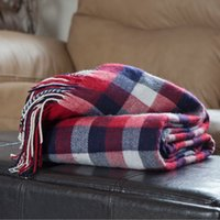 Wholesale Brand New and warmly decorative plaid and check throw blanket for sofas and beds