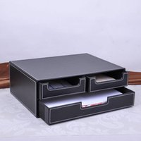 Wholesale double layer drawer leather desk file cabinet filing box container organizer storage box black A