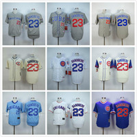 Wholesale Chicago Cubs Ryne Sandberg Jersey Blue White Gray Cream Ryne Sandberg Throwback Baseball Jerseys Cubs