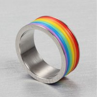 Wholesale Brand New Rainbow Pattern Metal Rings Lover s Best Love Token MM Width Rings for Male and Female Size Available