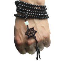 Wholesale Tibetan Natural Sandalwood Buddhist Buddha Meditation Beads Wood Prayer Bead Mala Bracelet Necklace