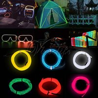 Mode LED Ruban Éclairage 2M EL Wire Rope Flexible Neon LED Lumière Glow Battery Power Décorations de mariage 6 couleurs