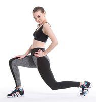 ash beige - Yoga Running Pants Lace leggings AB double black ash splicing carry buttock elastic plus size leggings manufacturer B0441