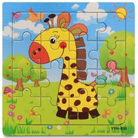 Wholesale Wooden Kids Jigsaw Puzzles Toys With Animals Pattern For Children Education And Learning Toy Cartoon Baby Puzzle Giraffe Bee