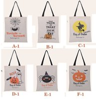 Wholesale 36 cm Halloween Canvas bags Large cotton kids Hangbags Pumpkin devil spider Hallowmas Gifts Bag Sack Bags style