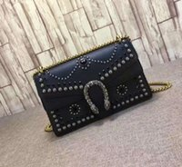 Wholesale The New fashion style black color L28cm imported head calfskin genuine leather beaded rivets top high quality T69037 women shoulder bag