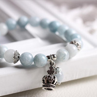 Wholesale Fashion charm Beaded bracelet with pure natural jade light blue crystal bracelet lady high quality jewelry valentine s day gift