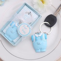 baby boy themed showers - DHL Free Shiping Baby Shower Favors and Gift Cute Baby Clothes Key Chain Blue pink Themed Keychain for boy