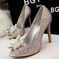 Cheap Free shipping cheap bridal heels, sparkling woman rhinestone high heels, sexy peep toe womens fashion elegant high - heeled shoes wedding pa