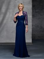 Wholesale Elegant Long Chiffon Mother of The Bride Dresses With Lace Jacket Royal Blue Sweetheat Neckline Ruffles Beads Mother Dresses Formal
