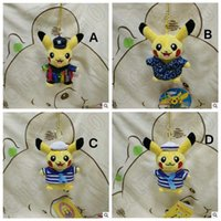 Wholesale 4 Designs cm Poke Pikachu Plush Pendant Toys For Children Cartoon Striped Sailor Hanging Handbag Car Pendents Key Rings CCA4928