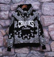 bandana hoodie - Winter Fleece Black Bandana Hoodies Crooks and Castles Hoodies Hip Hop Sweatshirts for Men Sportswear Harajuku Sudaderas Hombre