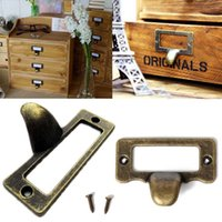 Wholesale 6pcs Antique Brass Drawer Label Pull Cabinet Frame Handle File Name Card file cabinet handles label holder antique cabine E5M1