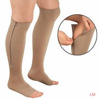 Wholesale 2016 hot sale New Breathable Unisex Zipper Compression Knee Socks Leg Support Open Toe