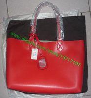 Wholesale Top Grade Lady Web Real Soft Leather Shopping Tote Bag Women Fashion Designer Reversible Handbag Red