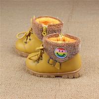 Wholesale CHILD BOOTS Fashion Winter Autumn Warm Ankle Kid Boots Lace Up Plus Velvet Boys Girls Shoes Children Anti Slip Snow Boot Shoe EUR21