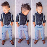 Wholesale boy sets boy summer clothes boy long sleeves shirts pants sets children sets Kids Clothing njh