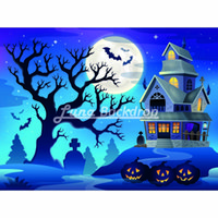 Wholesale 5X5ft x150cm Halloween party Castle Bat Moon Blue sky Vinyl Photography Background Backdrop backgrounds for photo studio HA228
