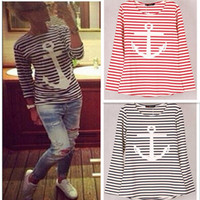 anchor tee shirt - 9 colors Striped with Printed Anchor women T shirts Long Sleeve Cotton Autumn Winter under shirts tops tees for woman S M L XL