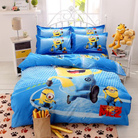 Wholesale bedding set twin Full Queen size duvet cover set reactive printed bed linen flat sheet bedclothes cartoon Minions