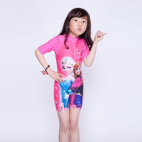 Wholesale Girls Swimming Suit Baby One Piece Swimwear Printed Frozen Elsa And Anna Kids Slim Swimsuits Childrens Summer Swim Wear