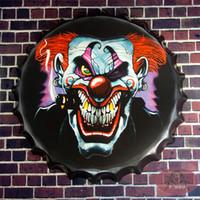 antique devil - Shabby chic Round Sign Devil Clown House Office Restaurant Bar iron Craft Wall Decor cm RD