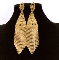 Wholesale 2016 African golden top quality fashion crystal gold plated high grade decorative crystal pendant earrings long wedding accessories women te