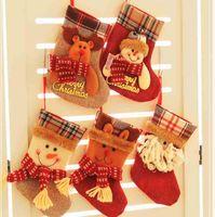 Wholesale KASH warm Christmas stockings gift ornament milu deer Santa Claus snowman socks indoor decorations