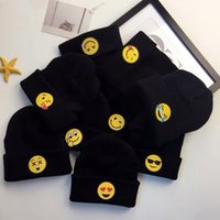 Wholesale New Fashion Winter Black Color Beanies Emoji Warm Woolen Knitted beanies Baby Emotions beanies