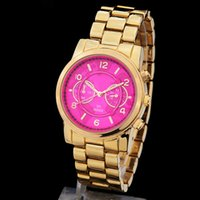Cheap NEW Fashion luxury women watch red dial steel brand logo wristwatch Quartz Girl Japan Movement Wristwatch Clock