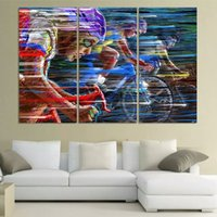 bicycle racing pictures - 3 Bicycle Race Oil Painting Unframed Canvas Wall Art Picture Blue Map Canvas Print Modern Wall Paintings Home Decoration