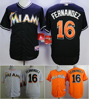 Wholesale Marlins Jose Fernandez Black Baseball Jerseys Hot Sale Men Baseball Wears High Quality Baseball Uniform White Black Orange Colors