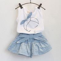 baby grid - 2016 new summer lovely girls Short Sleeve T Shirt grid pantskirt set Children Outfits baby kids girl bowknot headband clothes