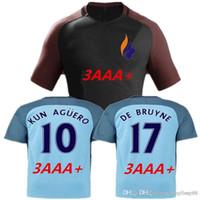 Wholesale DHL Best Thai Quality new Manchester City Jerseys DZEKO KUN AGUERO KOMPANY TOURE YAYA DE BRUYNE Home Away