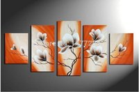 Wholesale 5 Piece Canvas Art Oil Painting Abstract Modern Home Decoration Magnolia Flower Picture Wall Decor Purple Orange Color Artwork