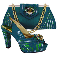 bag platform - African Italy matching shoes and bags set with shinning stones Rhinestone decoration in the bag
